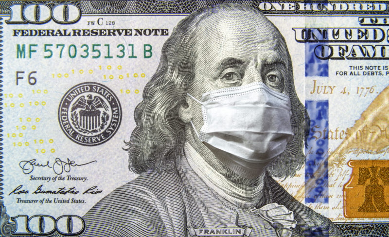 Hundred Dollar Bill with Benjamin Franklin in Coronavirus Protective Mask