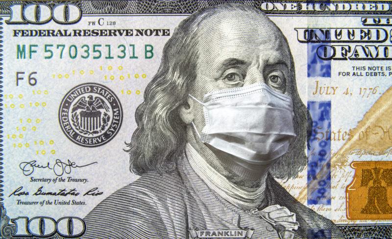 Hundred Dollar Bill with Benjamin Franklin in Coronavirus Protective Mask